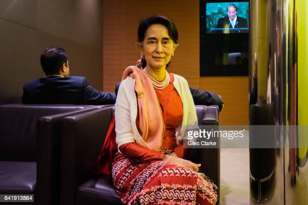 Aung San Suu Kyi State Counsellor of Myanmar poses for a portrait before her speech addressing the UN General Assembly