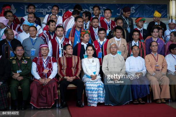 Aung San Suu Kyi State Counsellor of Myanmar sits for an official photograph at the Panlong Peace Conference which she hosted and convened to...