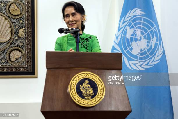 Aung San Suu Kyi State Counsellor of Myanmar speaks during a press conference held on the occasion of UN Secretary General Ban Kimoon and the UN...