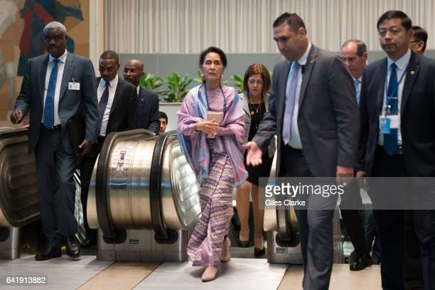 Aung San Suu Kyi State Counsellor of Myanmar walks through UN HQ during the UN General Assembly