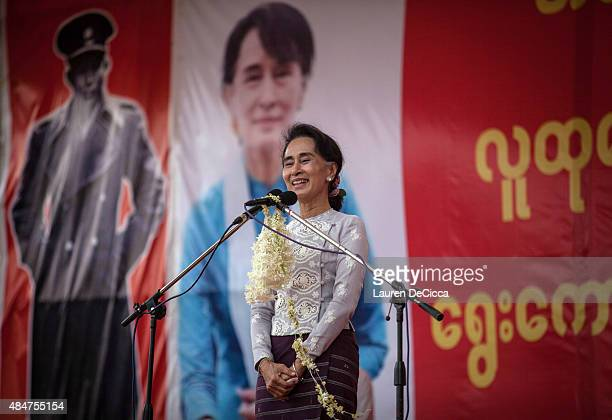 Aung San Suu Kyi the leader of Myanmar's National League for Democracy speaks at voter education rally on August 21 2015 in Yangon Burma Aung San Suu...