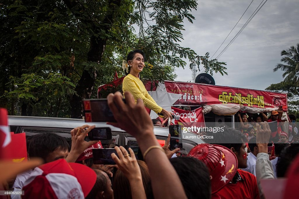 Aung Sun Suu Kyi, leader of Myanmar's National League for Democracy Party, campaigns in her constituency on October 24, 2015 in Kawhmu, Myanmar. Suu Kyi has been the parlimentary representative of Kawhmu since the 2012 bi-elections and has created new roads and a hospitality training school to increase prosperity in the constituency. Myanmar's elections are scheduled for November 8, 2015 and will be the fairest in the country's history.