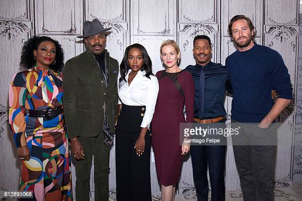 "Aunjanue Ellis, Colman Domingo, Aja Naomi King, Penelope Ann Miller, Nate Parker and Armie Hammer attend The Build Series to discuss the movie ""The..."