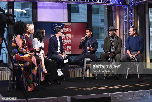 Aunjanue Ellis Penelope Ann Miller Aja Naomi King Nate Parker Colman Domingo and Armie Hamme attend The Build Series to discuss 'The Birth Of A...