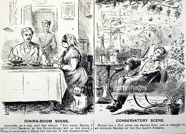 Aunt banning her nephew from smoking in the dining room but is glad to use the smoke from his pipe smoking to kill here insect enemies in the...