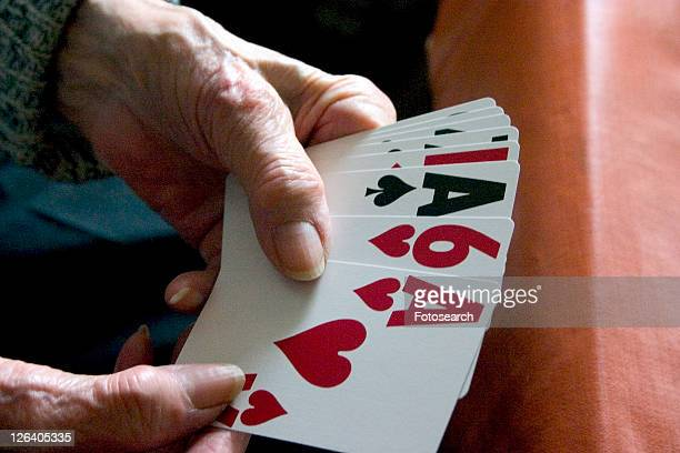 Aunt Fran age 92 playing with large print cards suffering from macular degeneration