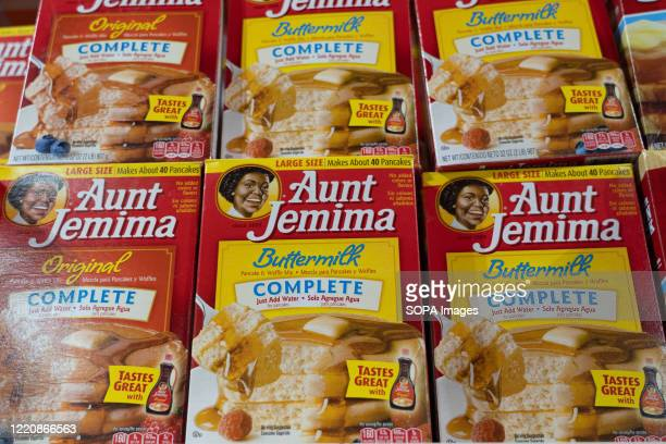 Aunt Jemima products seen displayed on supermarket shelves After decisions by Aunt Jemima and Uncle Bens to overhaul their imaging in the wake of...
