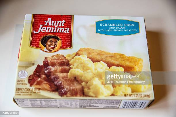Aunt Jemima scrambled eggs and bacon frozen prepared processed meal with hash brown potatoes in package Breakfast is ready to be quickly cooked and...