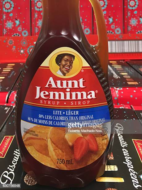 Aunt Jemima Syrup label in bottle. Aunt Jemima is a brand of pancake mix, syrup, and other breakfast foods owned by the Quaker Oats Company .