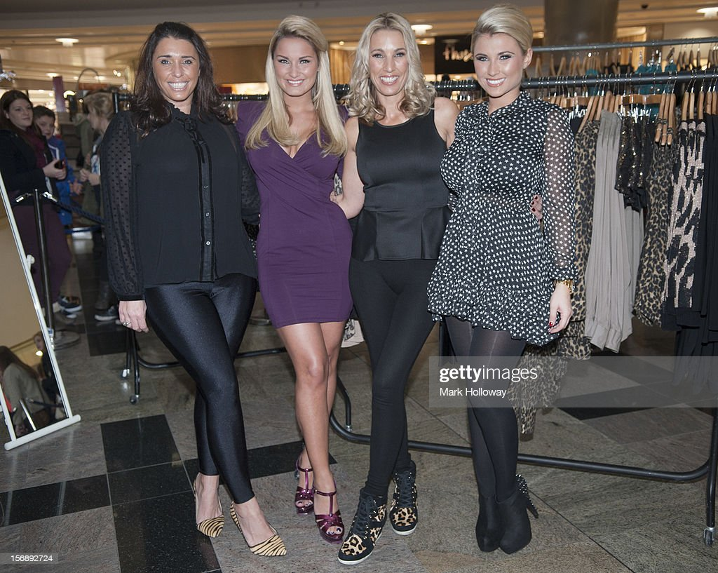 Aunty Libby, Sam Faiers with Mum Sue Faiers and Billie Faiers pose as Sam Faiers and Billie Faiers launch their new pop Up Shop called Minnies Boutique at West Quay on November 24, 2012 in Southampton, England.