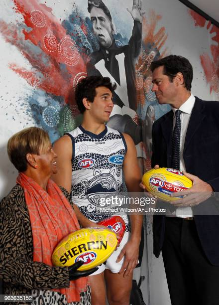 Aunty Pam Pedersen Nakia Cockatoo of the Cats and Gillon McLachlan Chief Executive Officer of the AFL chat during the Sir Doug Nicholls Round Media...