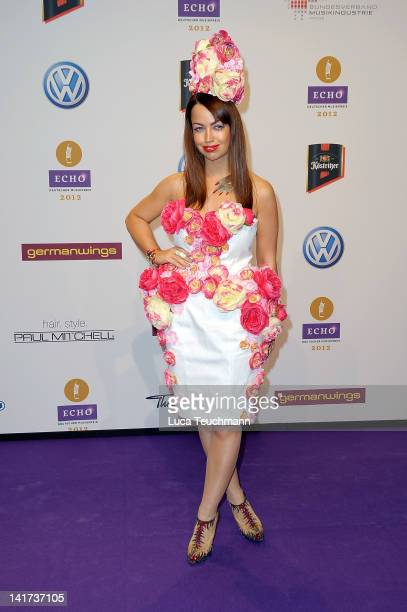 Aura Dione arrives for the Echo Awards 2012 at Palais am Funkturm on March 22 2012 in Berlin Germany