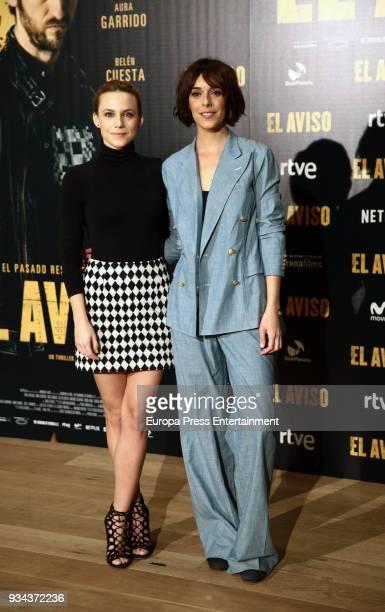 Aura Garrido and Belen Cuesta attends the 'El Aviso' photocall at Urso Hotel on March 19 2018 in Madrid Spain