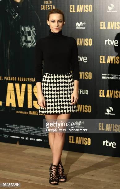 Aura Garrido attends the 'El Aviso' photocall at Urso Hotel on March 19 2018 in Madrid Spain