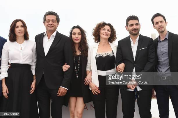 Aure Atika Hassan Kachach Hania Amar Nadia Kaci director Karim Moussaoui and Mehdi Ramdani attend 'Waiting For Swallows ' photocall during the 70th...