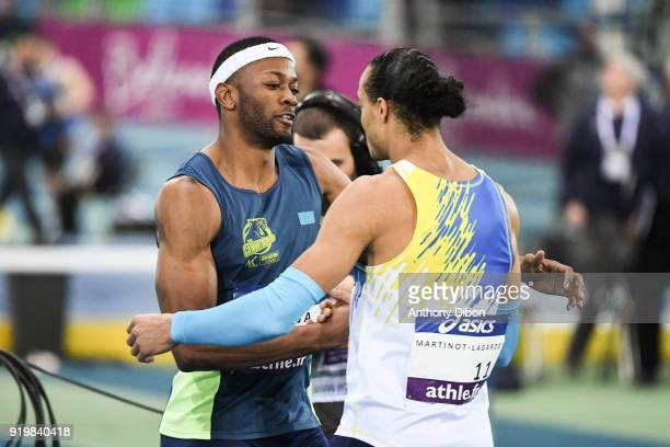 Aurel Manga celebrates his victory with Pascal Martinot Lagarde during the Athletics French Championship Indoor on February 17 2018 in Lievin France