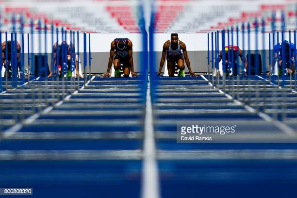 Aurel Manga of France and David Omoregie of Great Britain compete in the Men's 110m Hurdles Final during day three of the European Athletics Team...