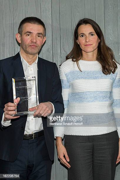 Aurelie Filipetti French Culture Minister and prize laureate reporter Philippe Lancon attend the prize winning ceremony for the 'Prix JeanLuc...