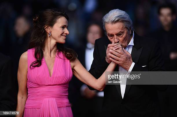 Aurelie Filippetti and actor Alain Delon attend the 'Only Lovers Left Alive' premiere during The 66th Annual Cannes Film Festival at the Palais des...