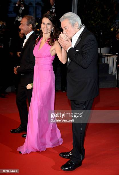 Aurelie Filippetti and actor Alain Delon attend the Premiere of 'Only Lovers Left Alive' during the 66th Annual Cannes Film Festival at the Palais...