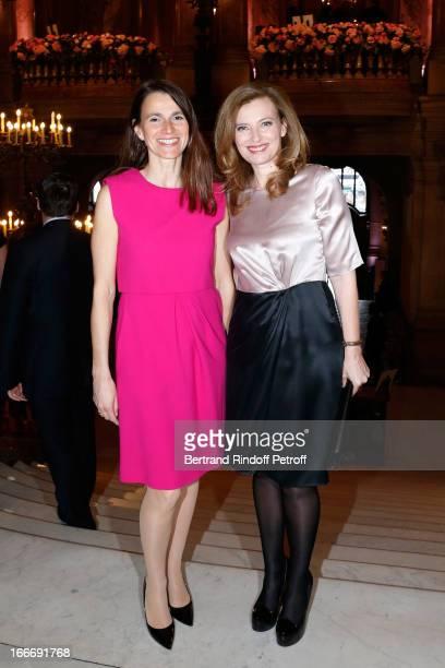 Aurelie Filippetti and Valerie Trierweiler attend Tricentenary of the French dance school AROP Gala at Opera Garnier on April 15 2013 in Paris France