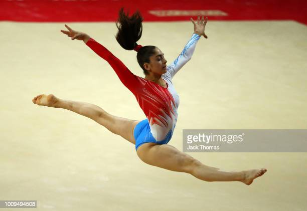 Aurelie Keller of Luxembourg competes in the floor exercise during Rotation 3 of the Team Women event qualification subdivision 1 during the Team...