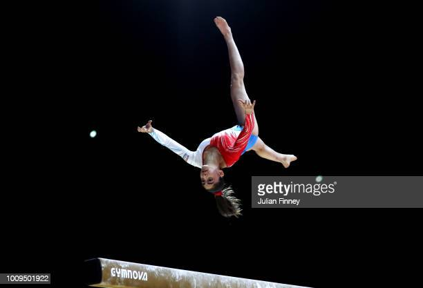 Aurelie Keller of Luxembourg competes on the balance beam during Rotation 2 of the Team Women event qualification subdivision 1 during the Team Women...
