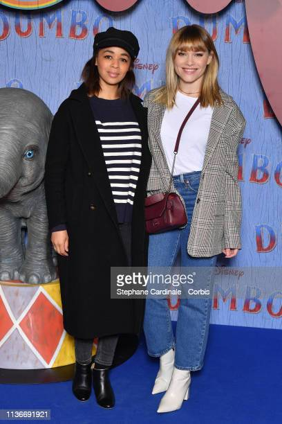 """Aurelie Konate and Joy Esther attend the """"Dumbo"""" Paris Gala Screening at Cinema Le Grand Rex on March 18, 2019 in Paris, France."""
