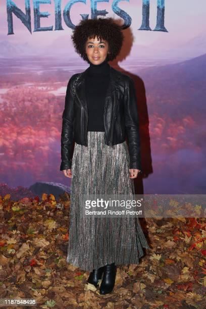 """Aurelie Konate attends the """"Frozen 2 - La Reine Des Neiges 2"""" Paris Gala Screening at Cinema Le Grand Rex on November 13, 2019 in Paris, France."""