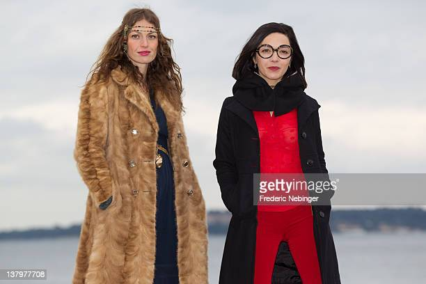 Aurelie Maggiori and Sylvie Hoarau of French pop duo 'Brigitte' pose during a Photocall at the MIDEM 46th Edition on January 30 2012 in Cannes France