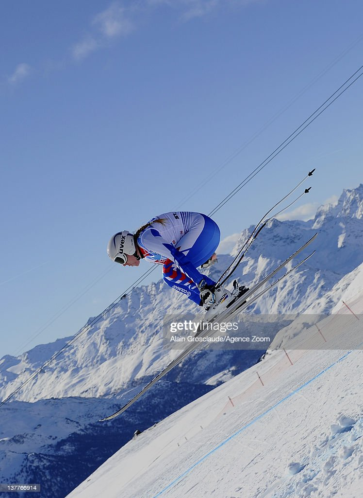 Aurelie Revillet of France skis during the Audi FIS Alpine Ski World Cup Women's Downhill Training on January 26, 2012 in St.Moritz, Switzerland.