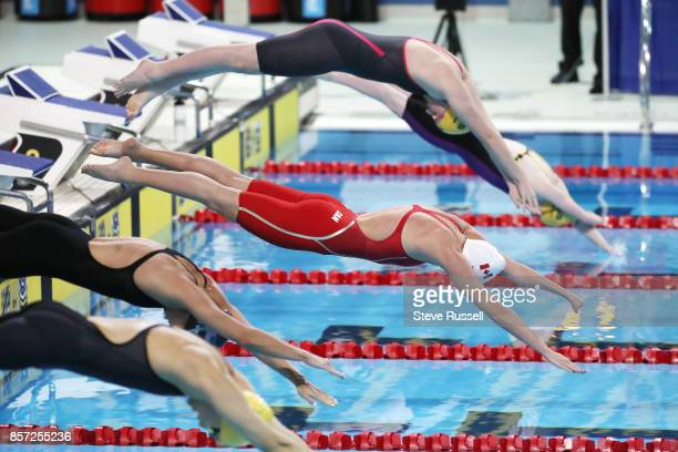TORONTO ON OCTOBER 3 Aurelie Rivard starts the 50 metres freestyle at the Paraswimming athletes compete in the ParaSwimmingCanadian Open at the in...