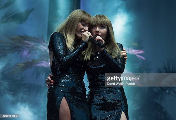 Aurelie Saada and Sylvie Hoarau from Brigitte performs at Fnac Live on July 15 2015 in Paris France