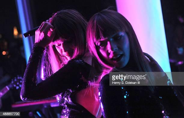 Aurelie Saada and Sylvie Hoarau of Brigitte perform in concert at The Standard Hotel on September 17 2015 in New York City