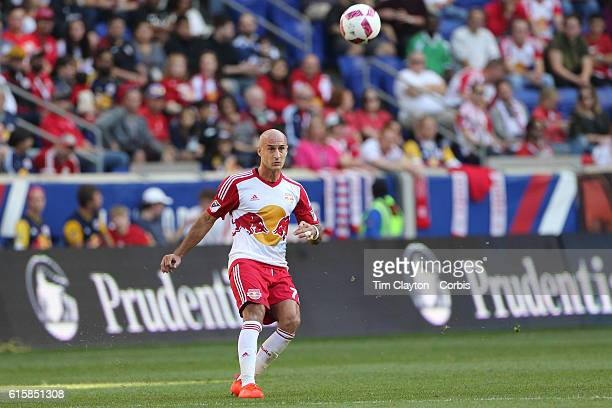 Aurelien Collin of New York Red Bulls in action during the New York Red Bulls Vs Columbus Crew SC MLS regular season match at Red Bull Arena on...