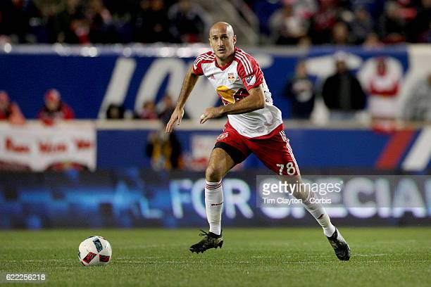 Aurelien Collin of New York Red Bulls in action during the New York Red Bulls Vs Montreal Impact MLS playoff match at Red Bull Arena Harrison New...