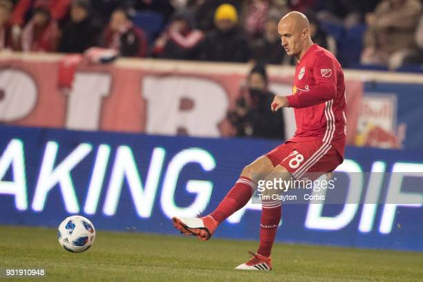 Aurelien Collin of New York Red Bulls in action during the New York Red Bulls Vs Portland Timbers MLS regular season match at Red Bull Arena Harrison...