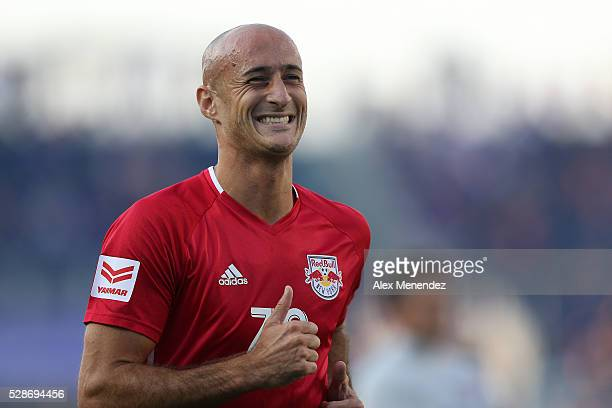 Aurelien Collin of New York Red Bulls is seen during an MLS soccer match against the Orlando City SC at Camping World Stadium on May 6 2016 in...