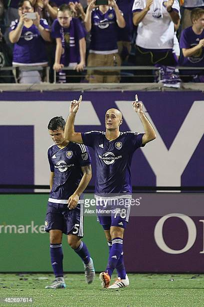 Aurelien Collin of Orlando City SC celebrates after he scores a goal during a MLS soccer match between the Columbus Crew SC and the Orlando City SC...