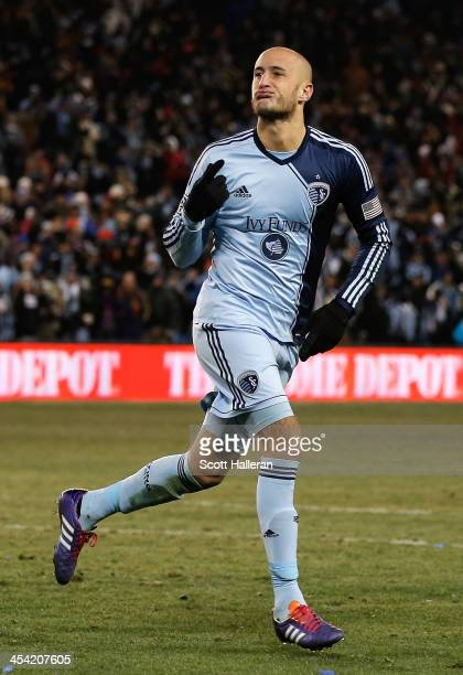 Aurelien Collin of Sporting KC reacts to scoring during the shootout against Real Salt Lake during the 2013 MLS Cup at Sporting Park on December 7...