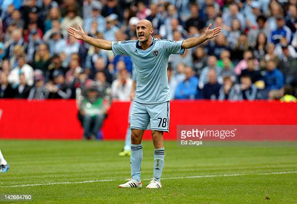 Aurelien Collin of the Sporting Kansas City argues a non call during a game against the Los Angeles Galaxy at Livestrong Sporting Park on April 7...