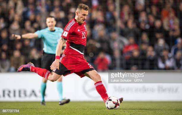 Aurelien Joachim of Luxembourg scores his teams first goal during the FIFA 2018 World Cup Qualifier between Luxembourg and France at Stade Josy...
