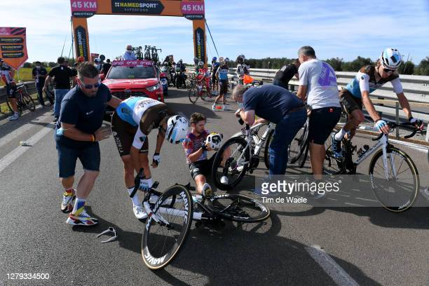 Aurelien Paret-Peintre of France and Team Ag2R La Mondiale / Sean Bennett of The United States and Team EF Pro Cycling / Tony Gallopin of France and...