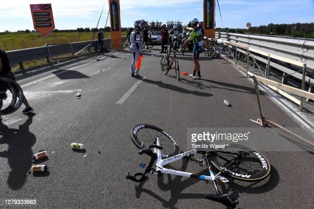 Aurelien Paret-Peintre of France and Team Ag2R La Mondiale / Simone Bevilacqua of Italy and Team Vini Zabu KTM / Crash / Bottles / Bike / Landscape /...