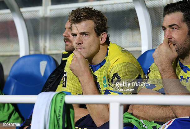 Aurelien Rougerie of ASM Clermont seats on the bench during the Top 14 rugby match between ASM Clermont Auvergne and Racing 92 at Stade Marcel...