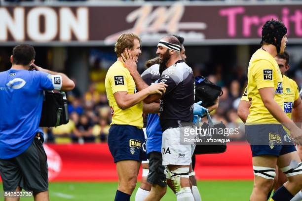 Aurelien Rougerie of Clermont and Mamuka Gorgodze of Toulon during the Top 14 match between Clermont and Toulon on September 3 2017 in...