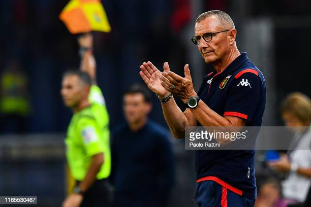 Aurelio Andreazzoli coach of Genoa during the Serie A match between Genoa CFC and ACF Fiorentina at Stadio Luigi Ferraris on September 1 2019 in...