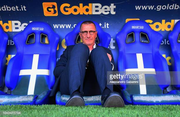 Aurelio Andreazzoli head coach of Empoli Fc looks on before the Serie A match between Parma Calcio and Empoli at Stadio Ennio Tardini on September...