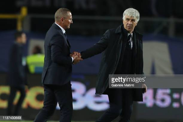 Aurelio Andreazzoli manager of Empoli FC and Gian Piero Gasperini manager of Atalanta BC of Empoli Fc greets fans after during the Serie A match...