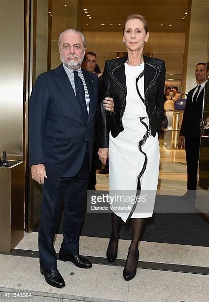 Aurelio De Laurentiis and Jacqueline Baudit attend the Giorgio Armani 40th Anniversary Boutique Cocktail Reception on April 29 2015 in Milan Italy